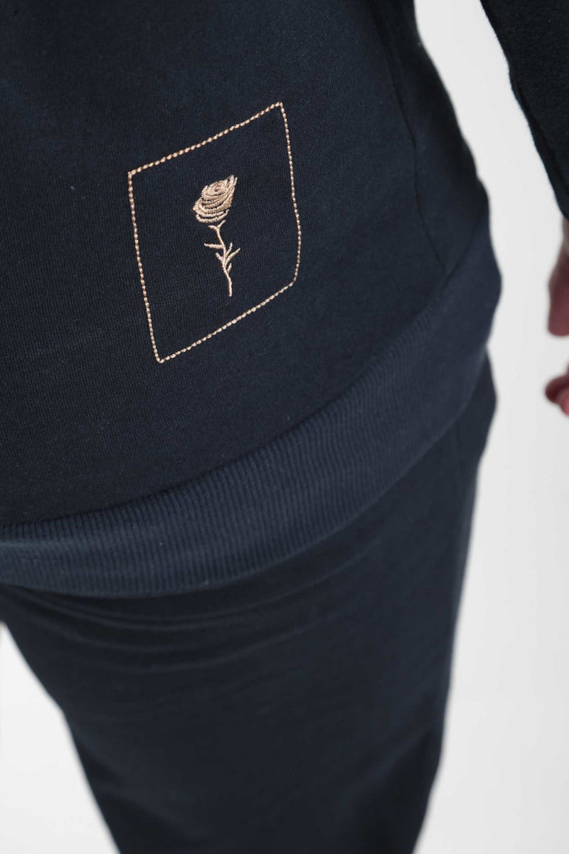 Navy Teddy Print Jogger - Rose London