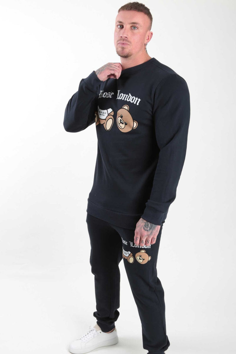 Navy Teddy Print Sweatshirt - Rose London