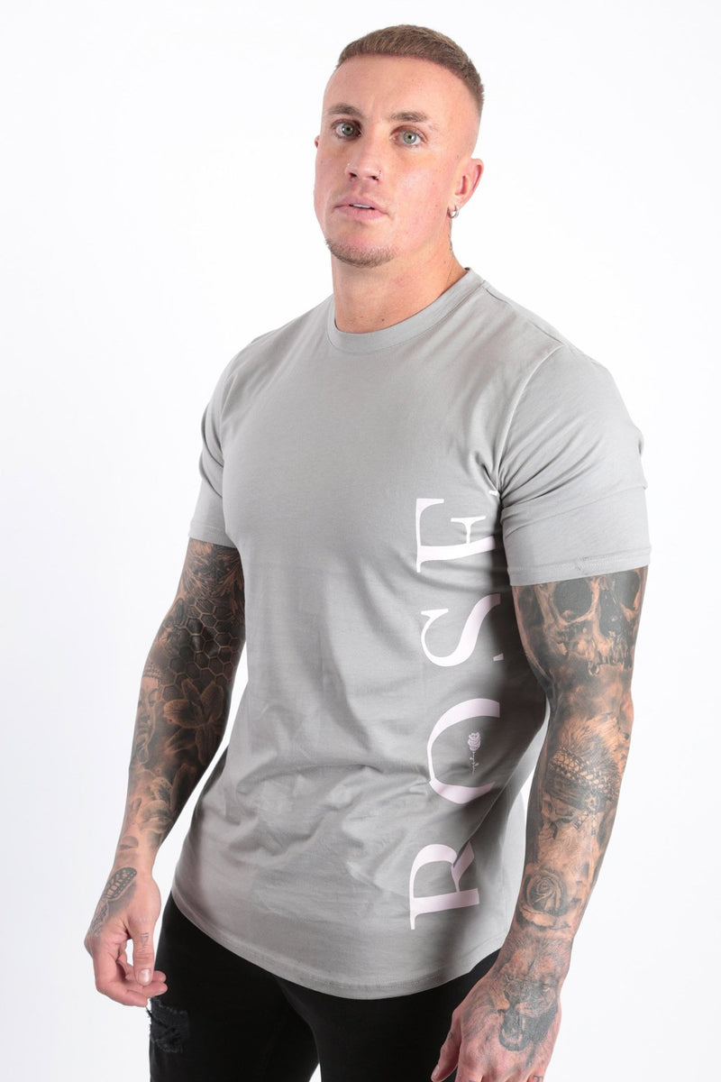 Pink Side Rose Text T-shirt Flat Grey - Rose London