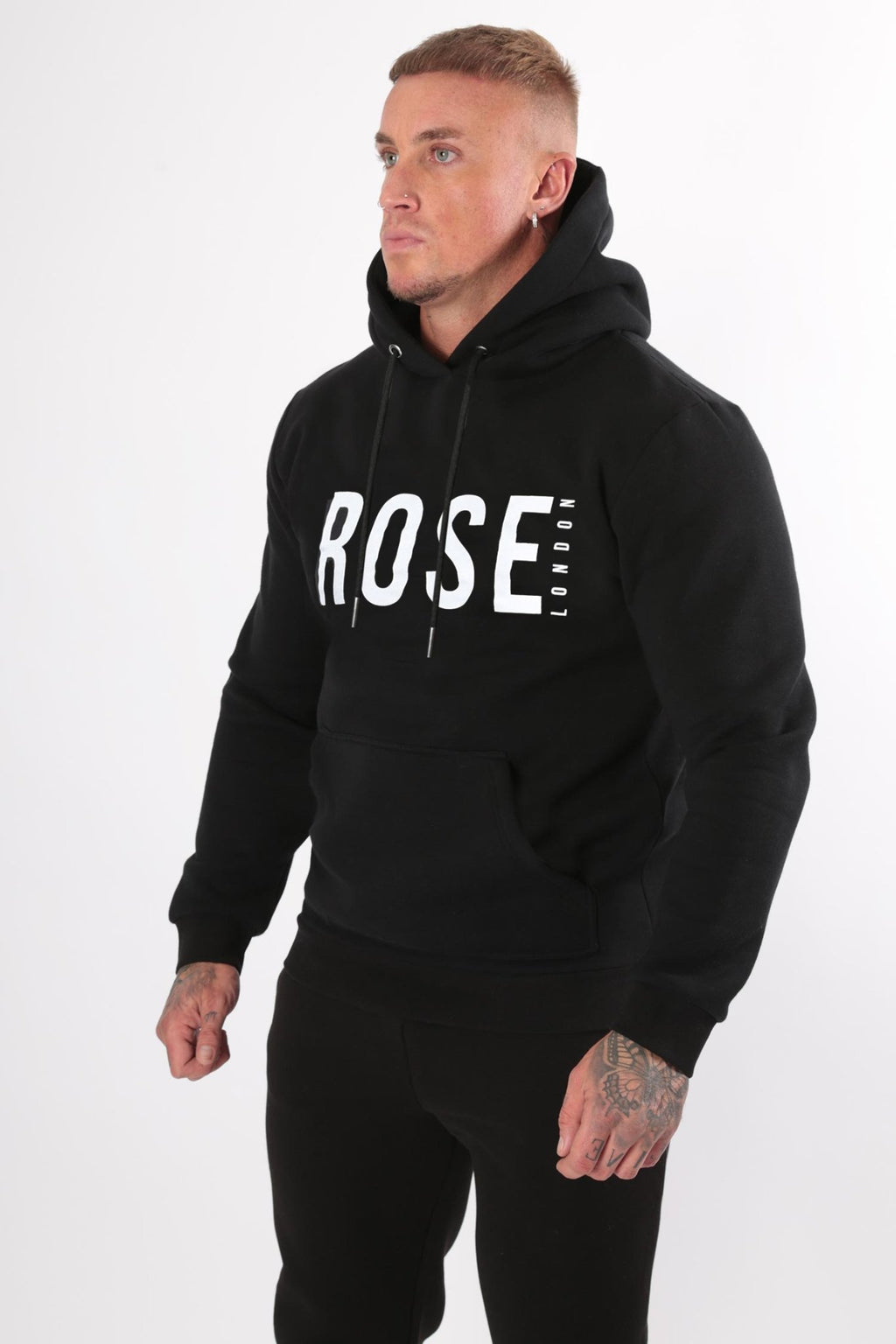 Rose Basic Logo Hood Black - Rose London