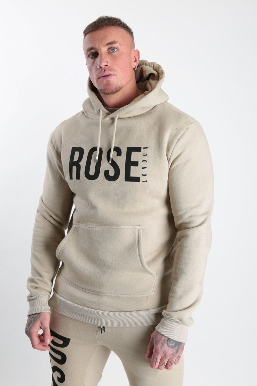 Rose Basic Logo Hood Stone - Rose London