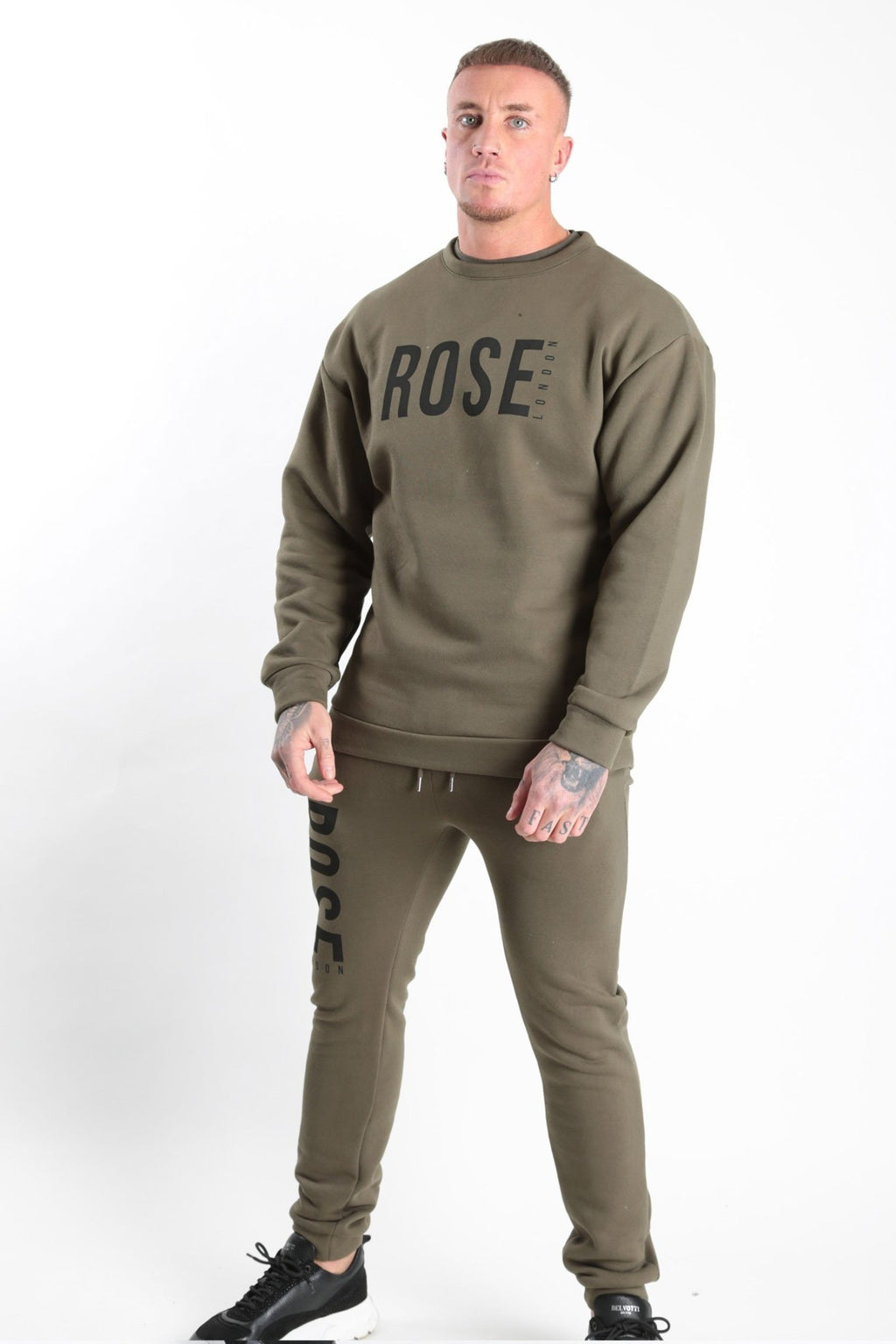 Rose Basic Logo Sweatshirt Khaki - Rose London