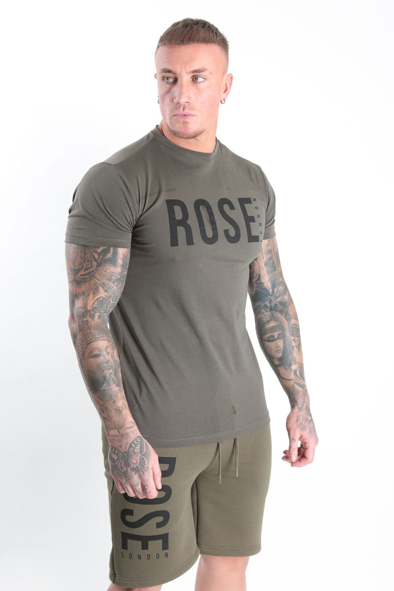 Rose Basic Logo T-shirt Khaki - Rose London