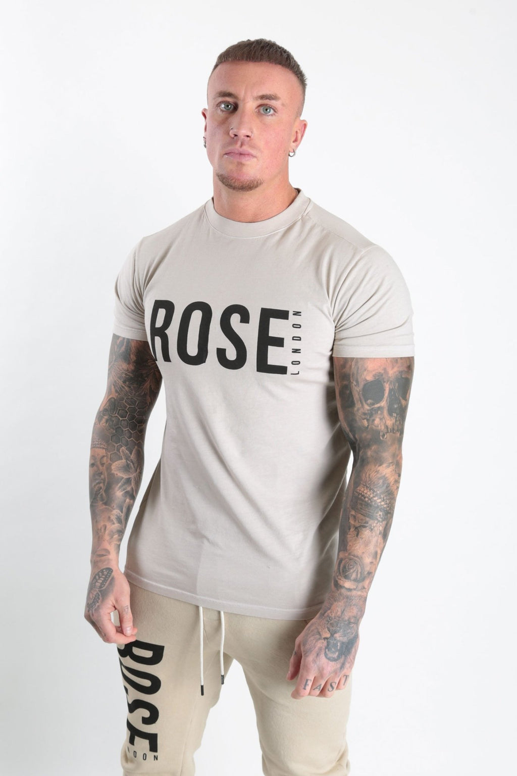 Rose Basic Logo T-shirt Stone - Rose London