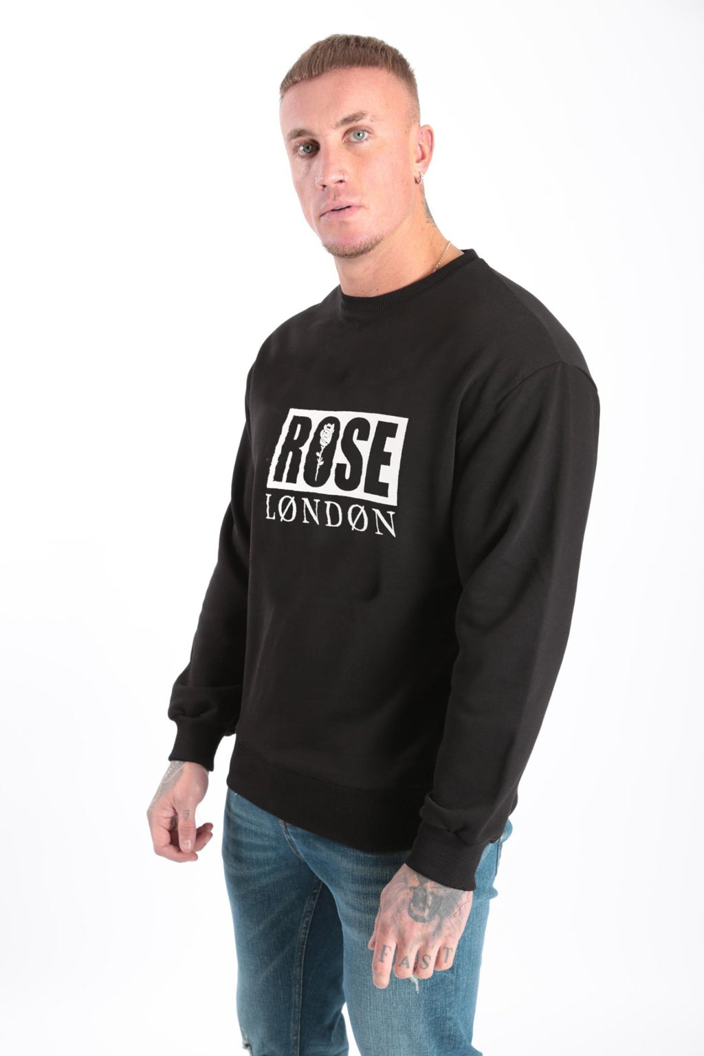 Rose London Box Print Sweatshirt Black - Rose London