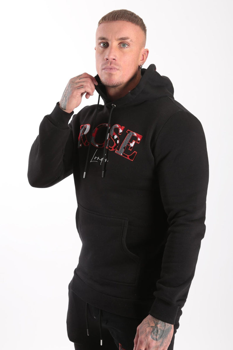 Rose London Chenille Embroidery Hoodie Black - Rose London