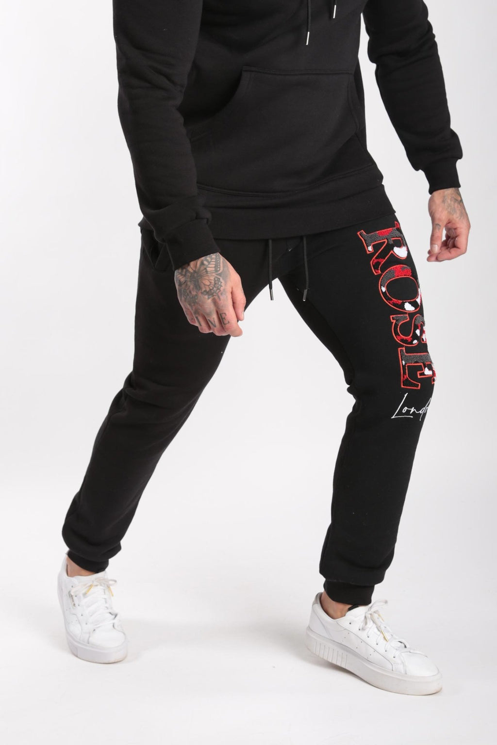 Rose London Chenille Embroidery Jogger Black - Rose London