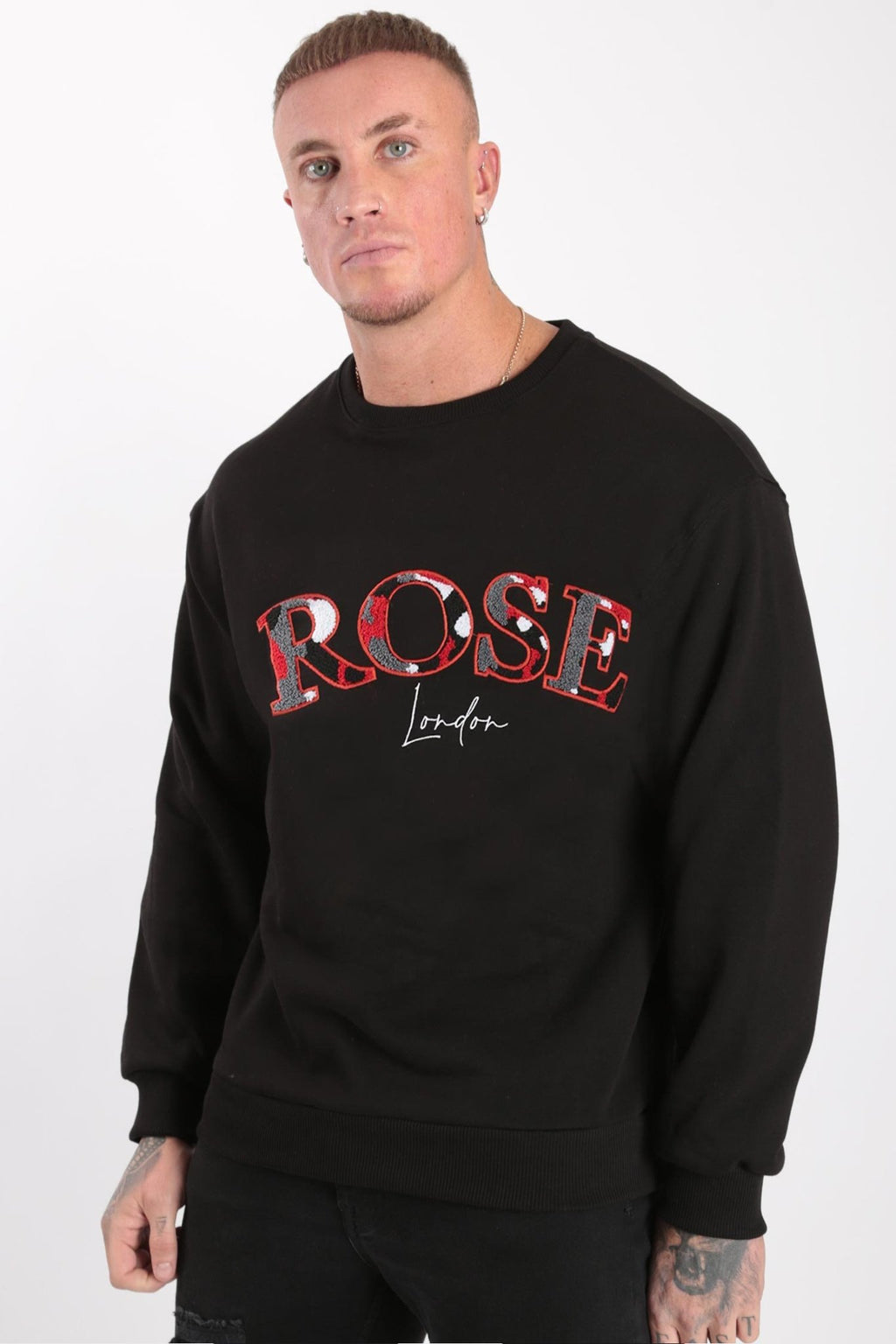 Rose London Chenille Embroidery Sweatshirt Black - Rose London