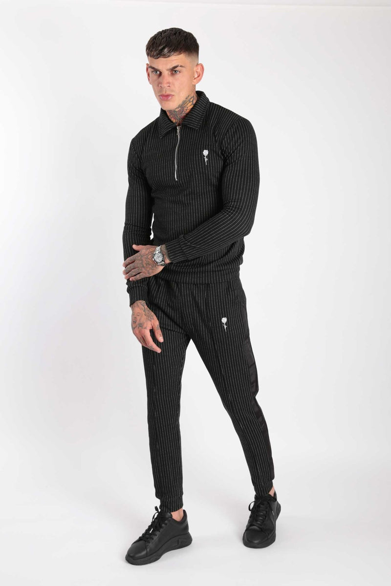 Rose London Classic Pinstripe Long Sleeve Polo & Jogger Set Black - Rose London