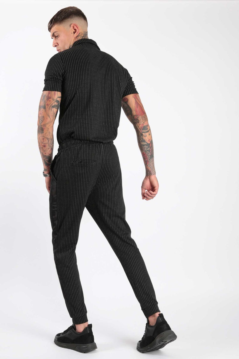 Rose London Classic Pinstripe Short Sleeve Polo & Jogger Set Black - Rose London