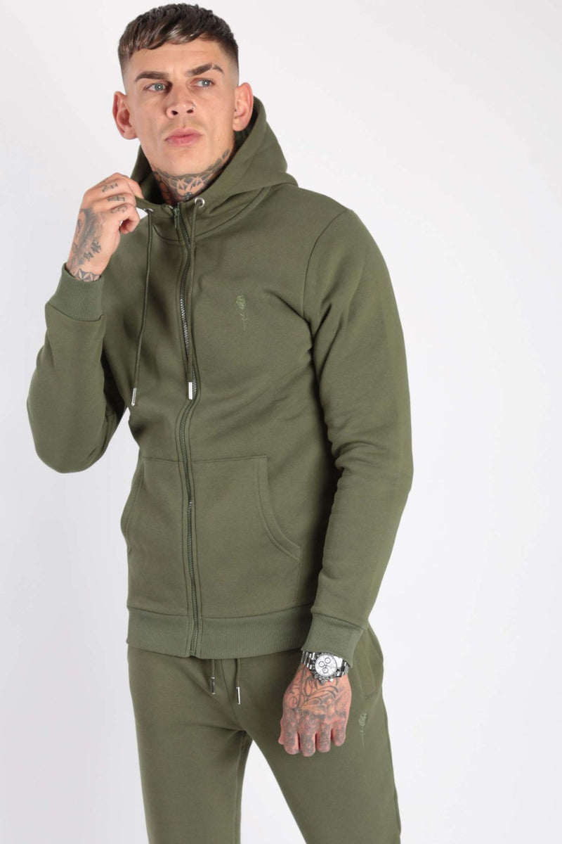 Rose London Core Zipped Hood Dark Khaki - Rose London