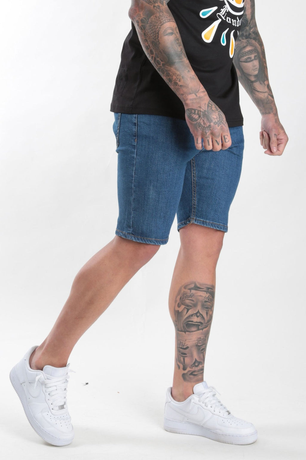 Rose London dark wash denim short plain - Rose London