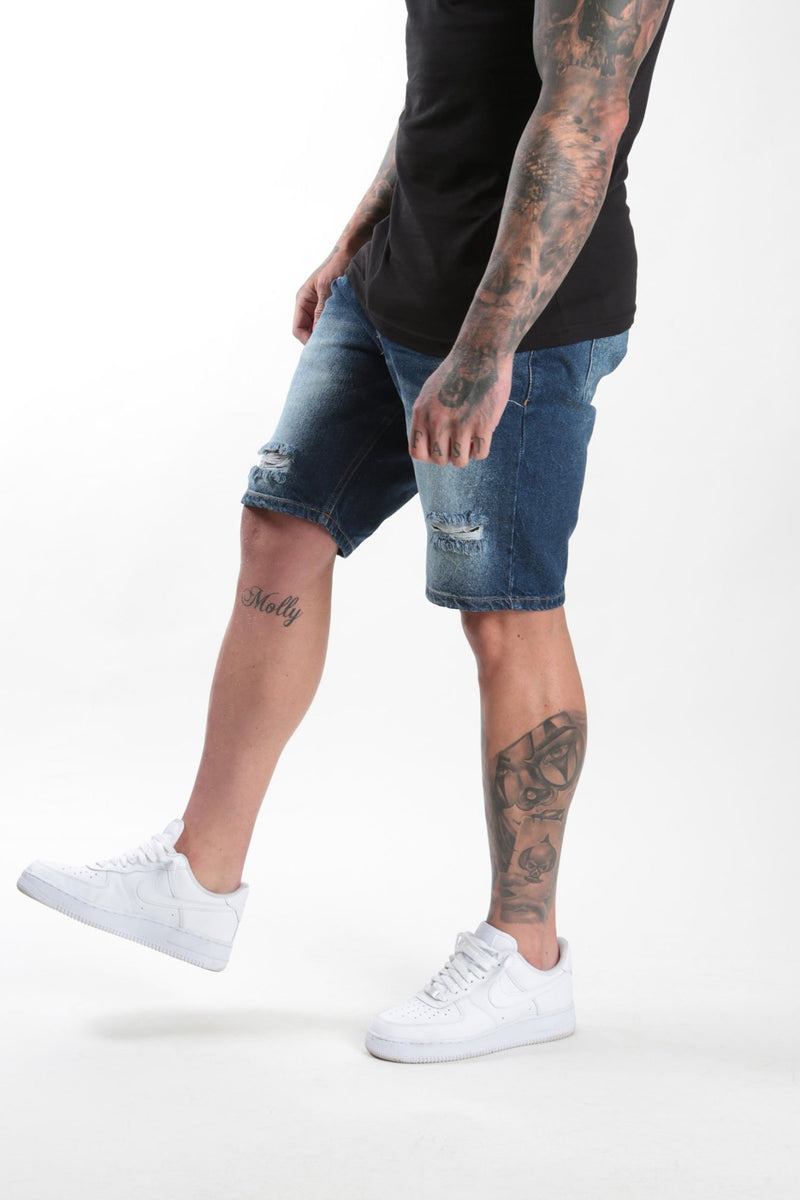 Rose London dark wash denim short Rip & Repair - Rose London