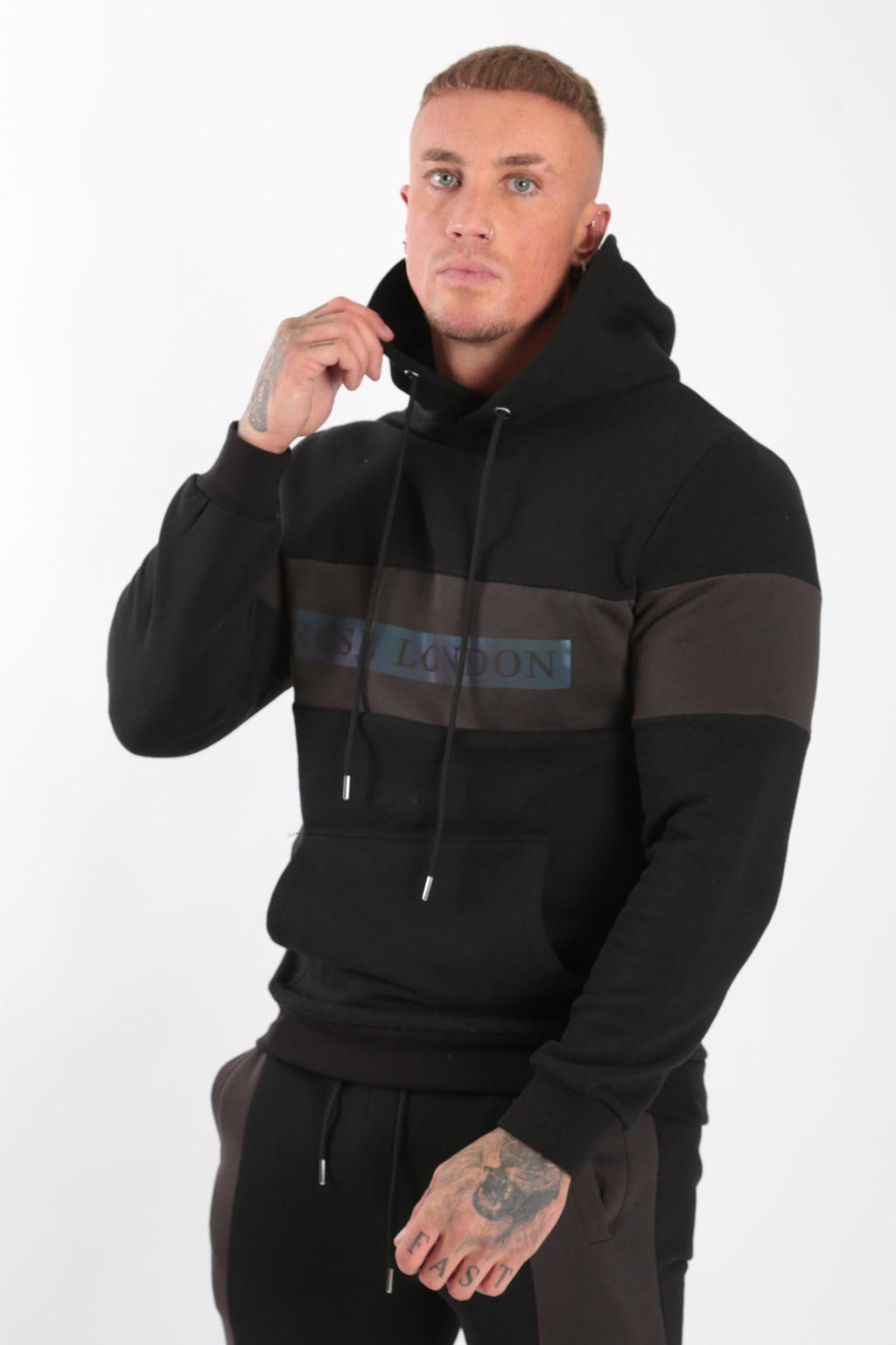 Rose London Iridescent Print Hoodie Black - Rose London