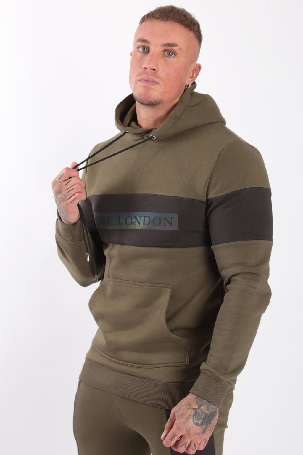 Rose London Iridescent Print Hoodie Khaki - Rose London