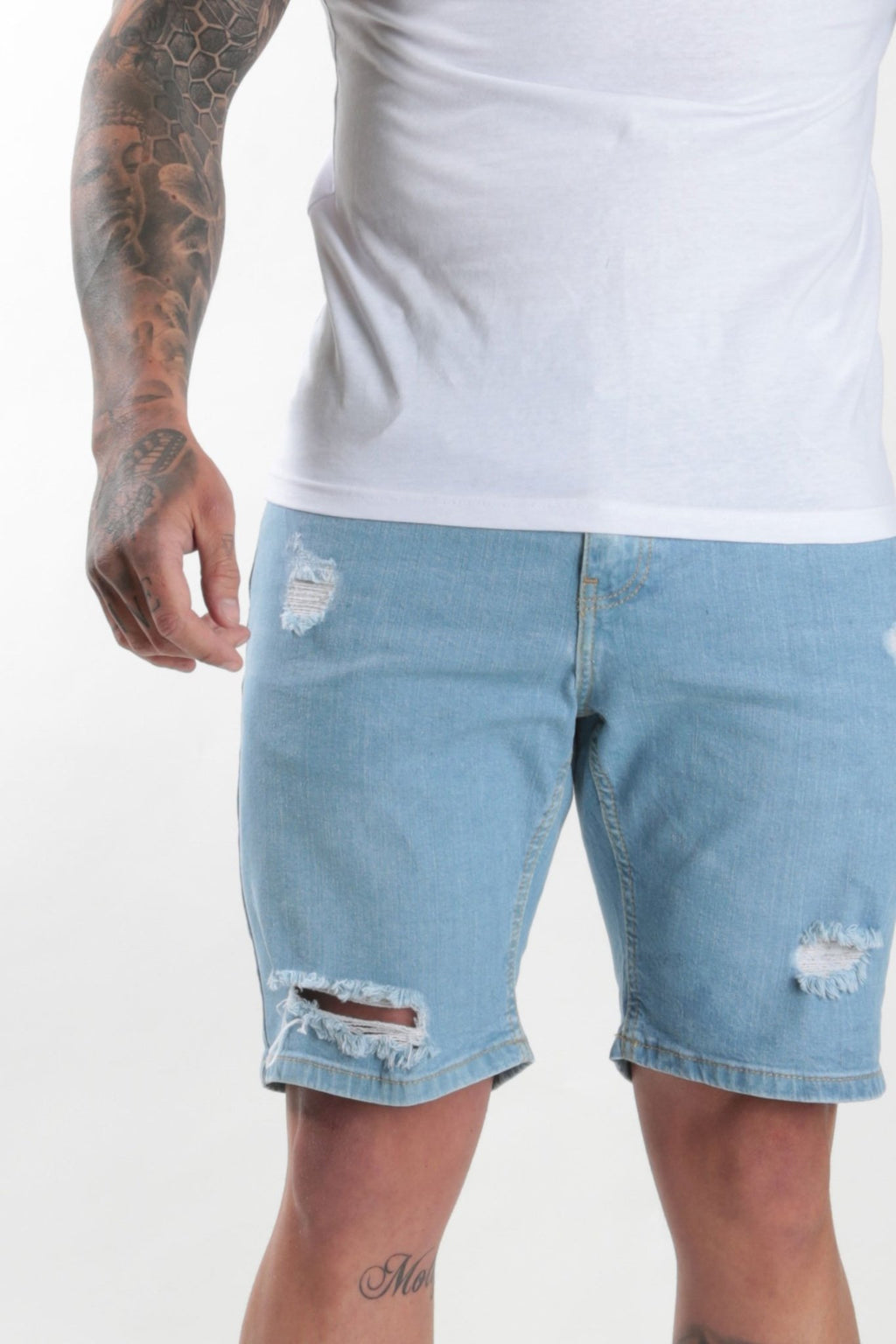 Rose London light wash denim short Rip & Repair - Rose London