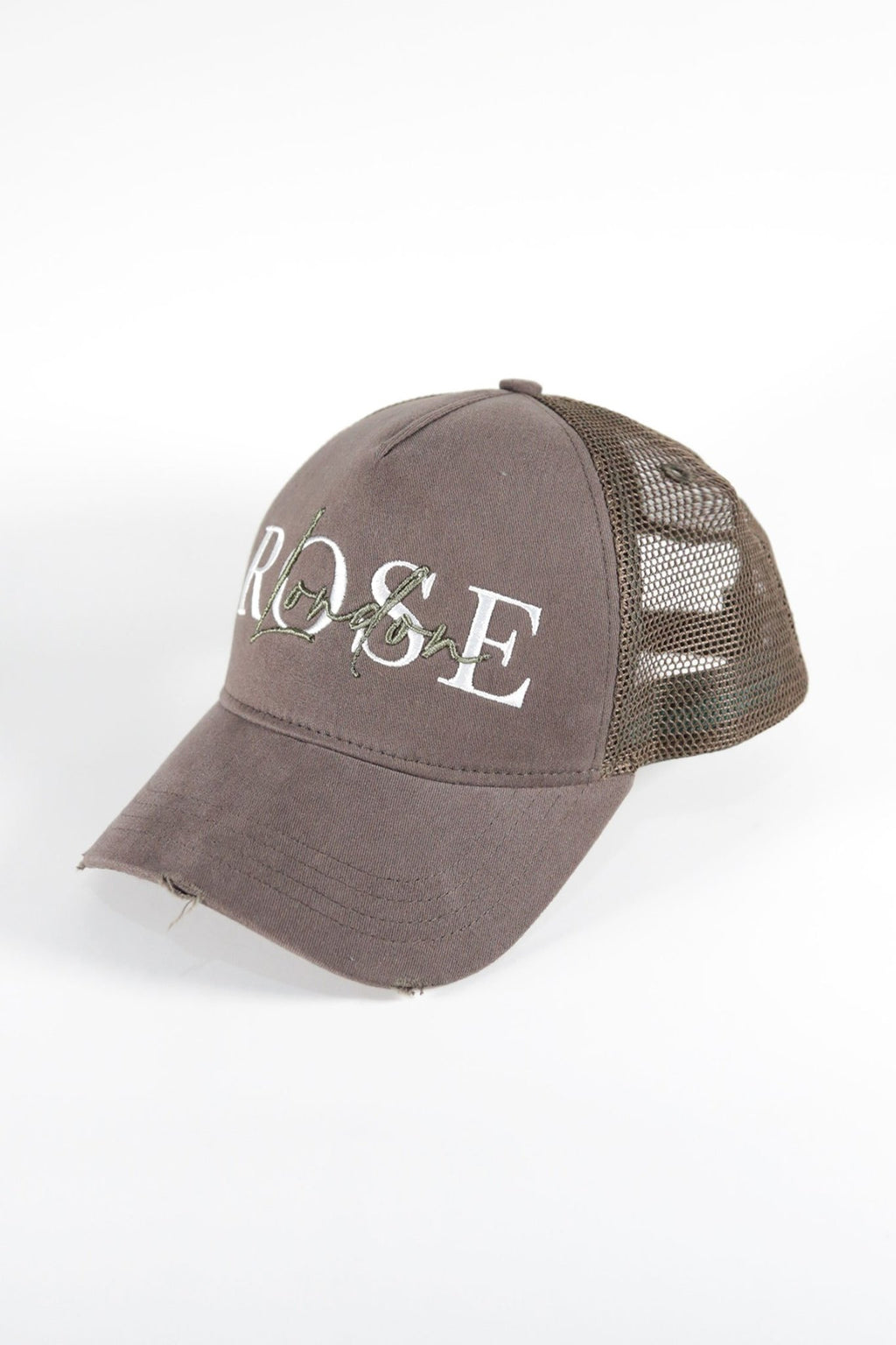Rose London Mesh Back Distressed 3D LA Cap in Khaki - Rose London