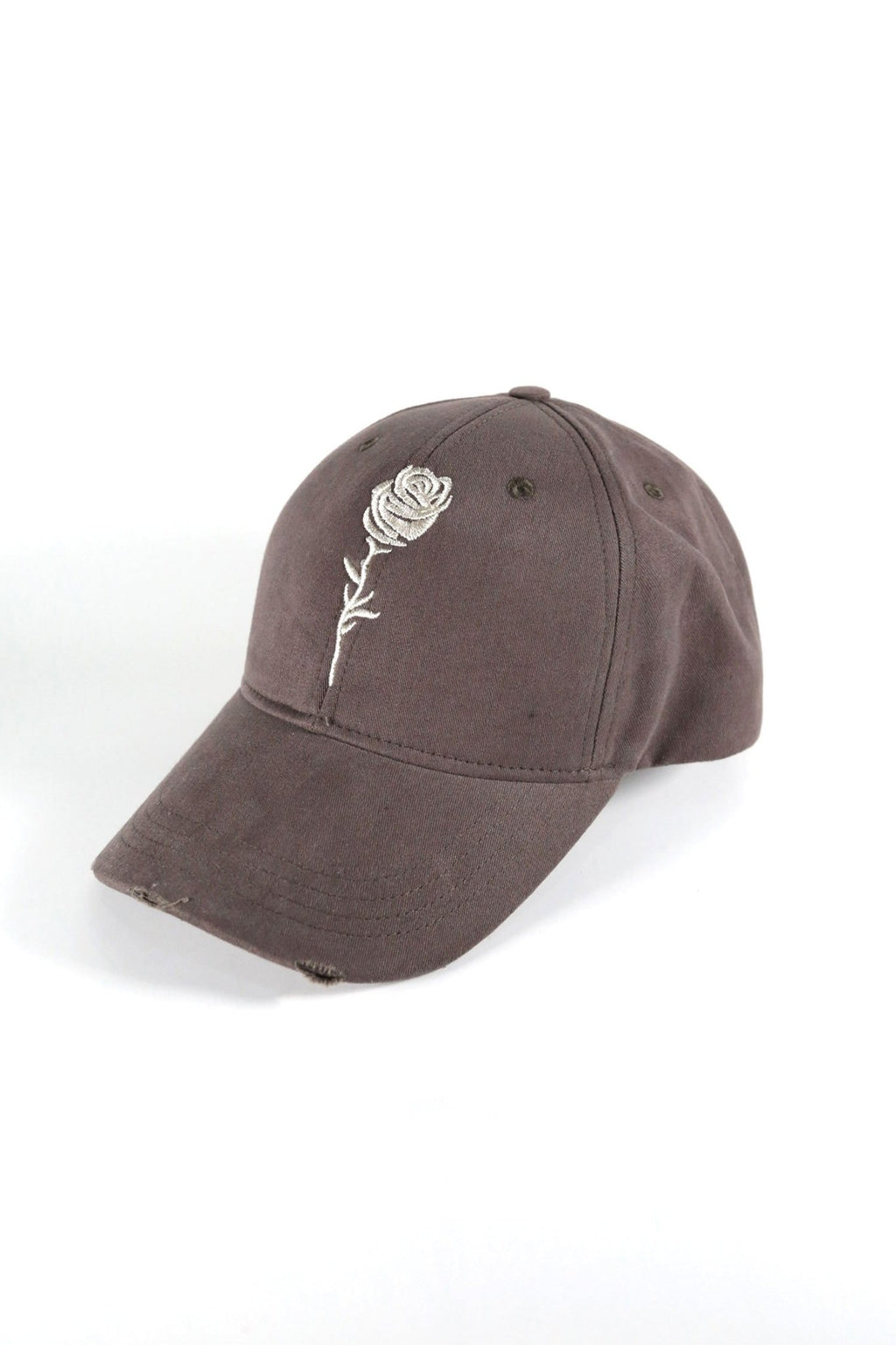 Rose London Mesh Back Distressed Rose LA Cap in Khaki - Rose London