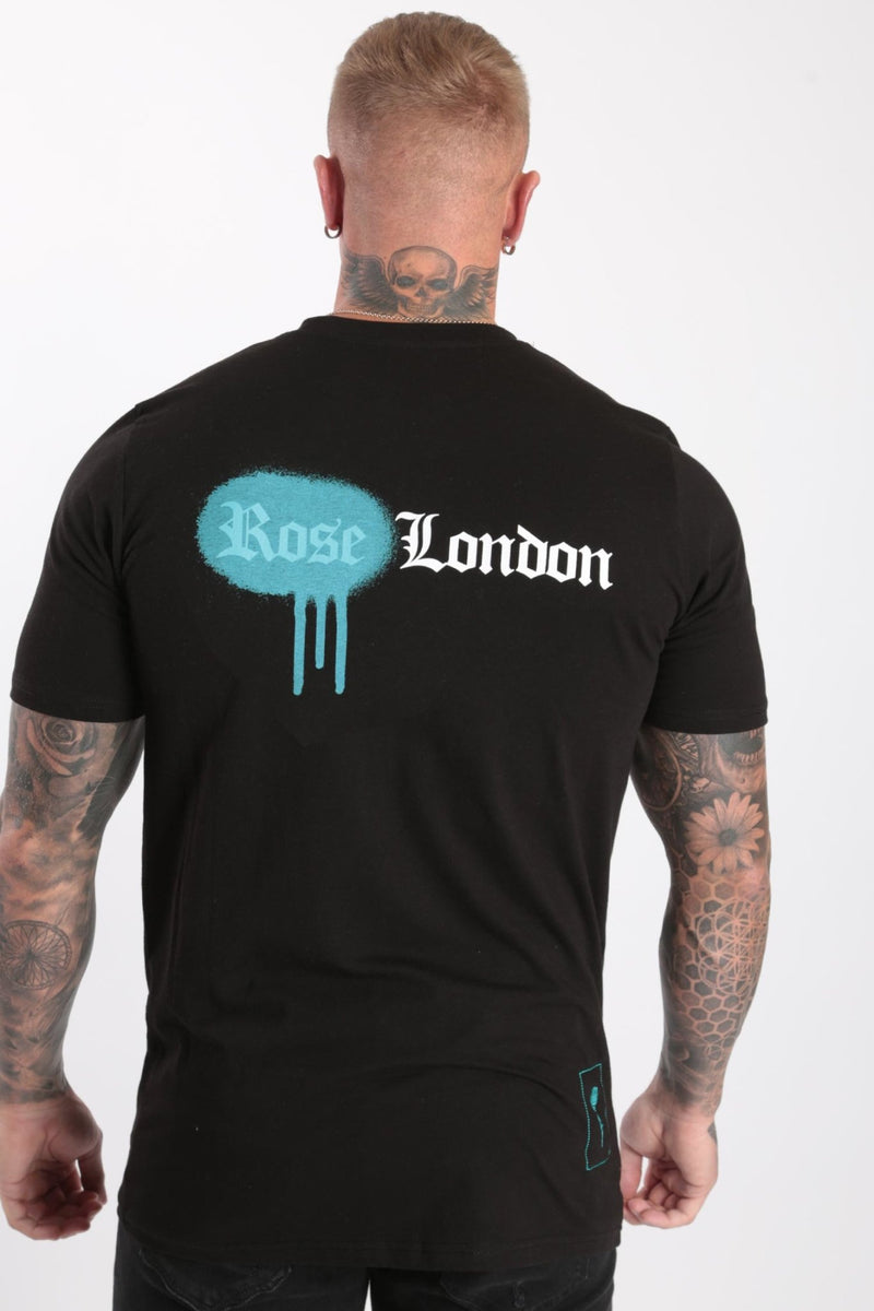 Rose London Rear Spray Paint T-shirt Black - Rose London
