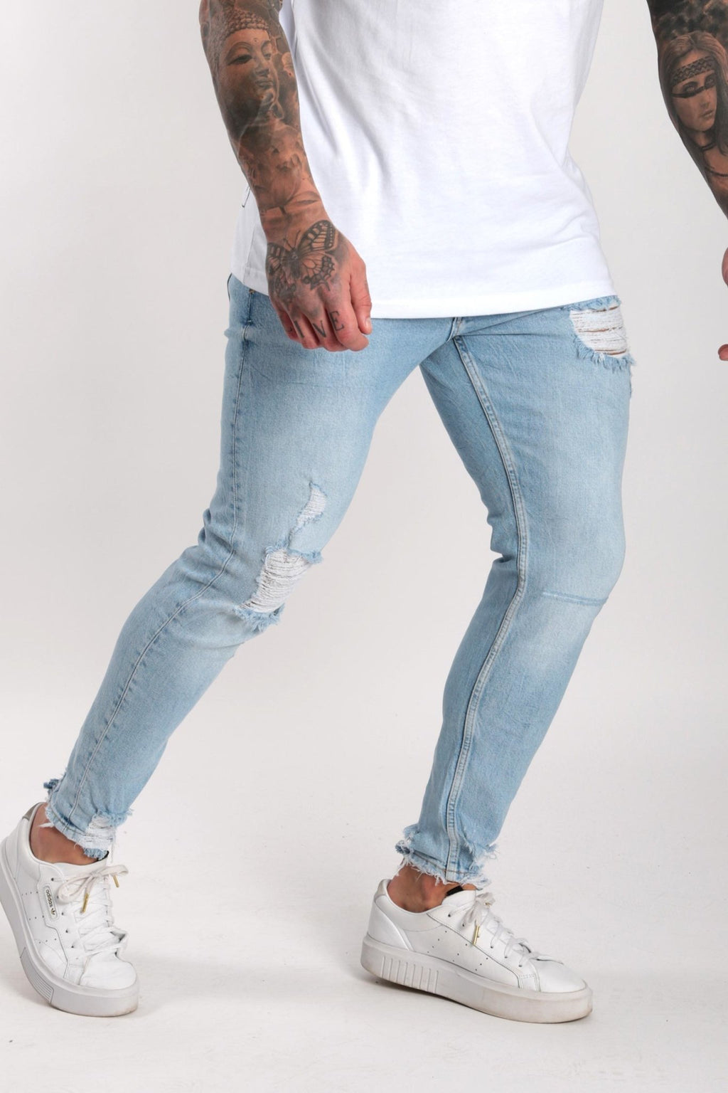 Rose London Slim Rip & Repair Denim Jeans Light Wash - Rose London