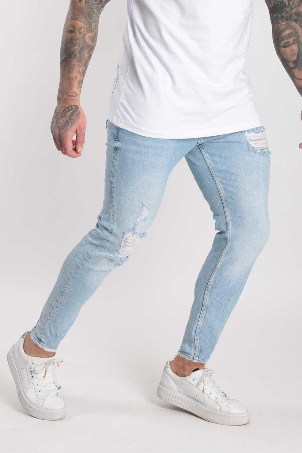 Rose London Slim Rip & Repair Denim Jeans Light Wash ( NEW ) - Rose London