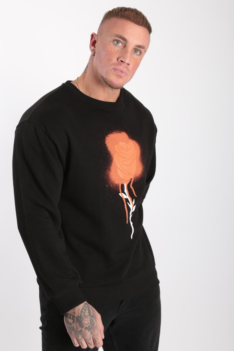 Rose London Spray Paint Drop Shoulder Sweatshirt Black - Rose London