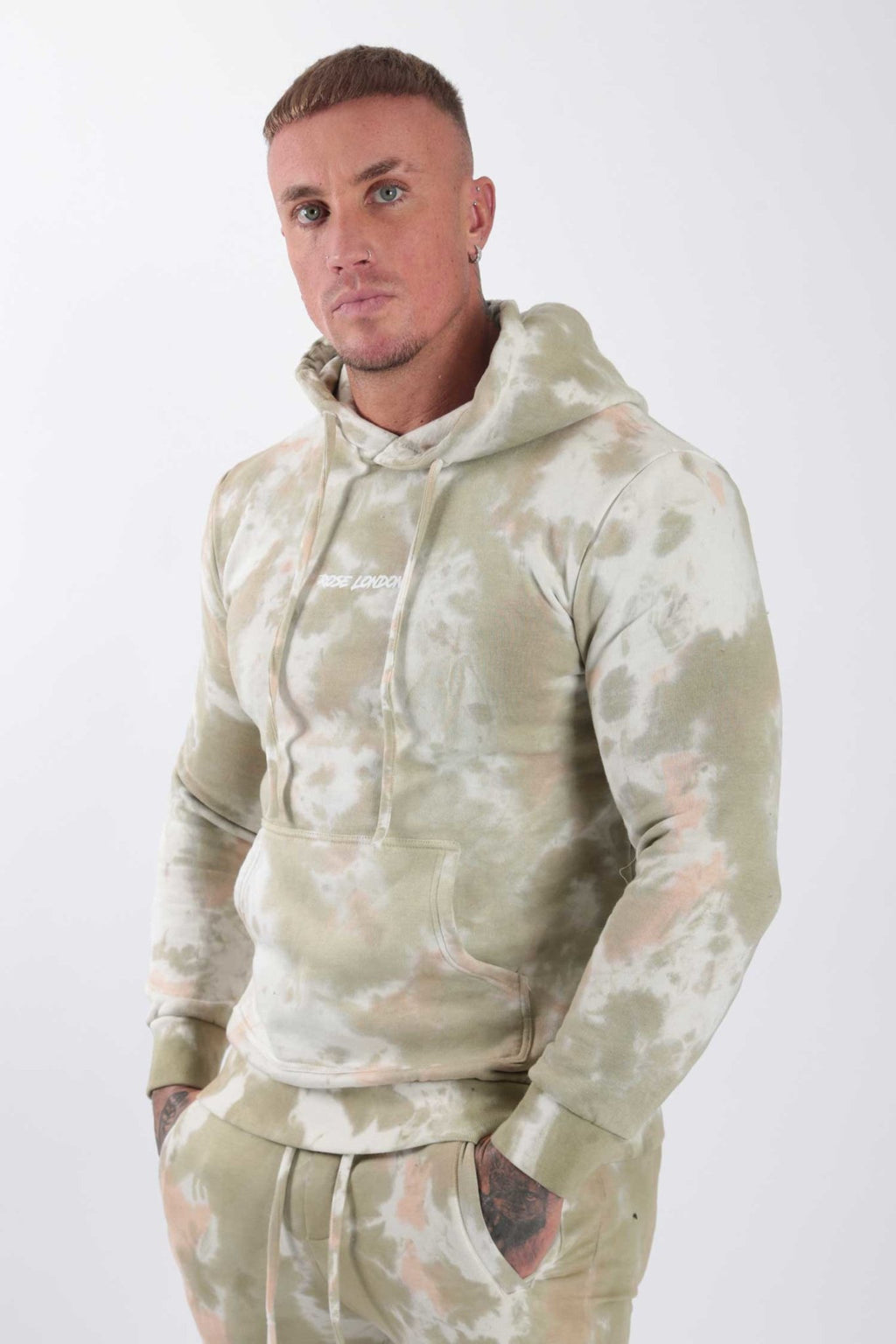 Rose London Tie Dye Hoodie Khaki - Rose London