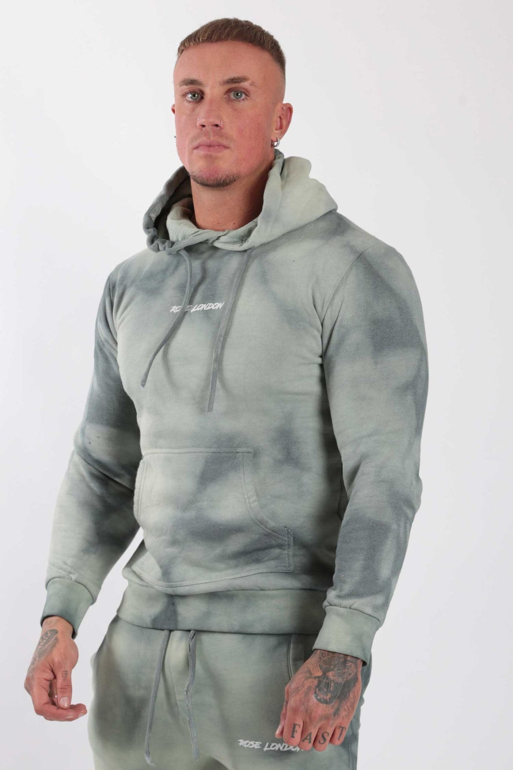 Rose London Tie Dye Hoodie Sage - Rose London