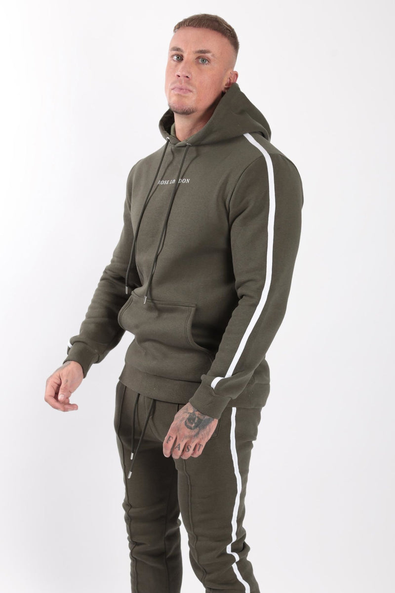 Rose London white contrast classic hoodie Khaki - Rose London