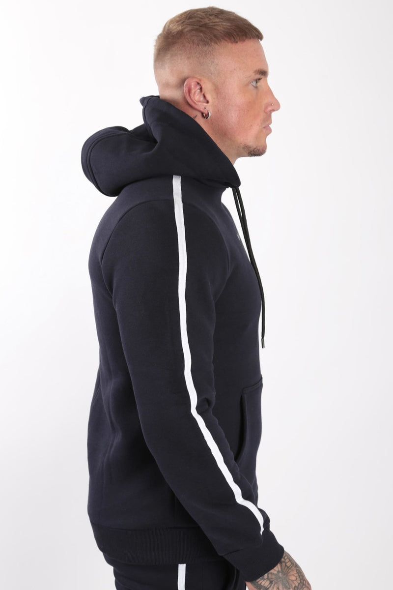 Rose London white contrast classic hoodie Navy - Rose London