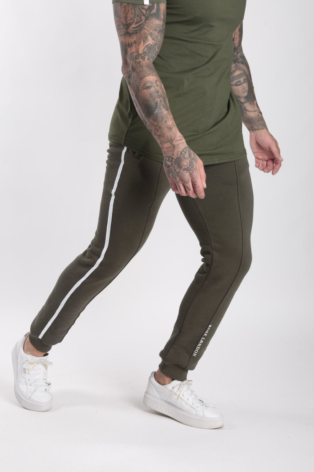 Rose London white contrast classic jogger Khaki - Rose London