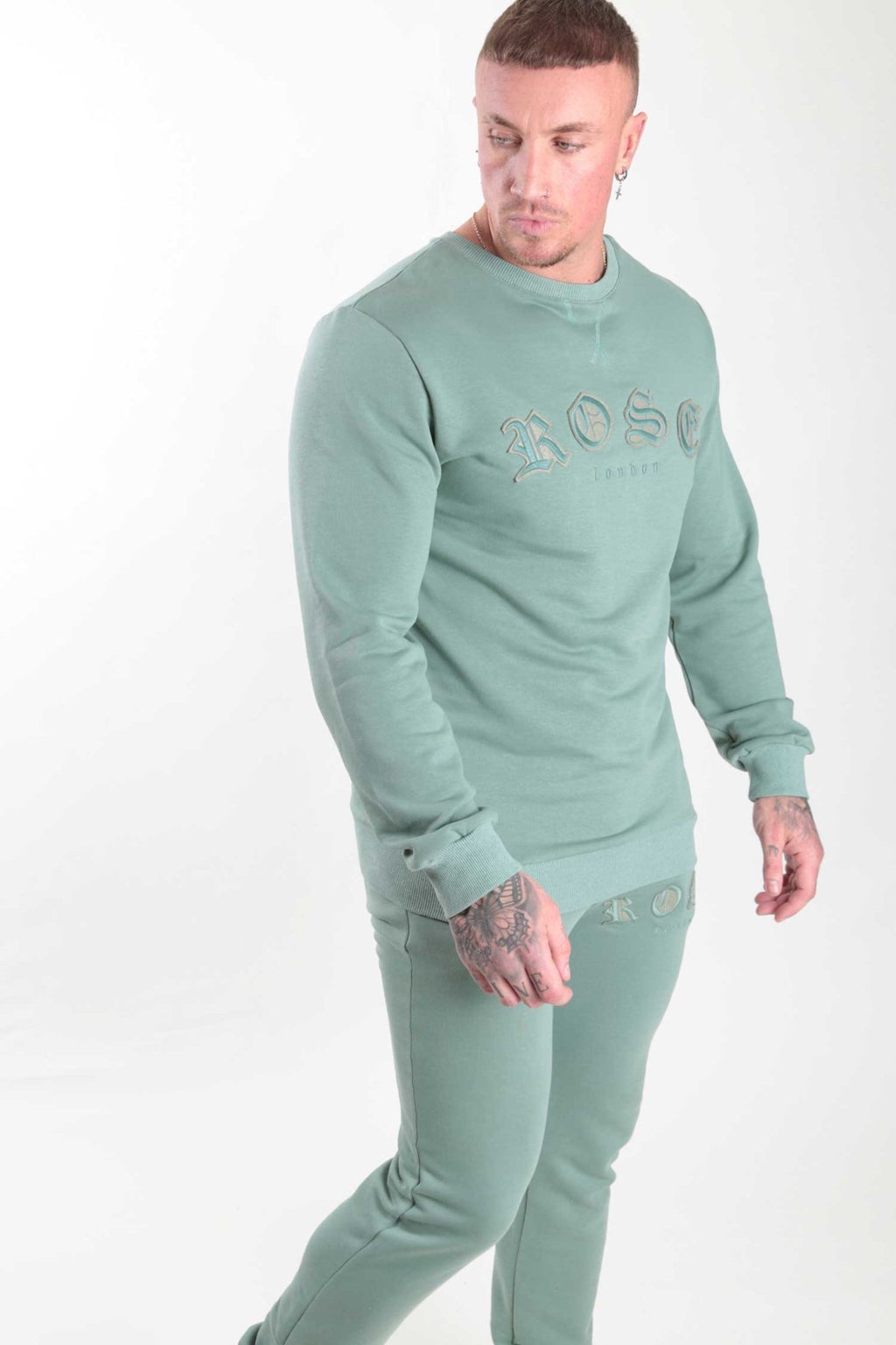 Sage Aplique Embroidery Sweatshirt - Rose London