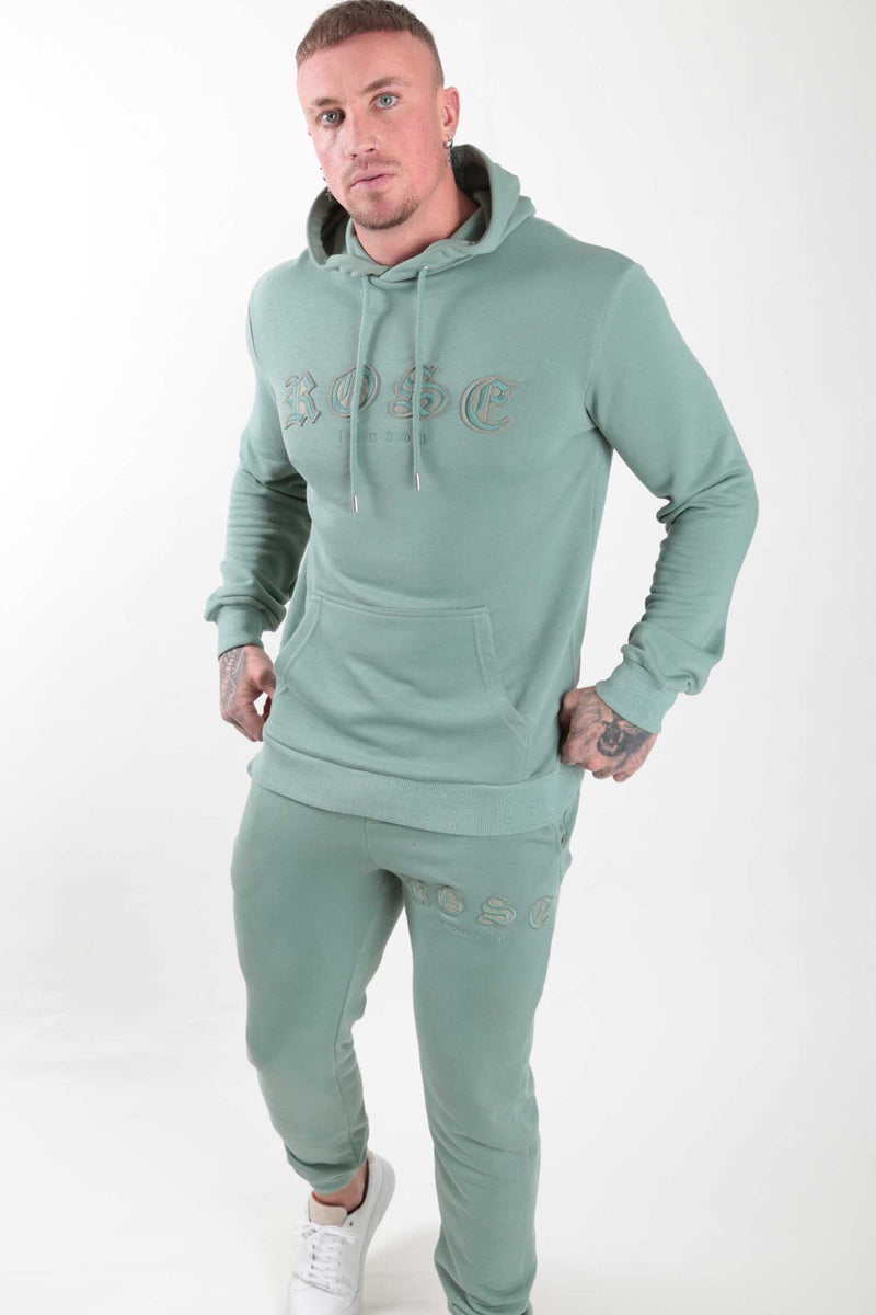 Sage Rose Aplique Hoodie - Rose London