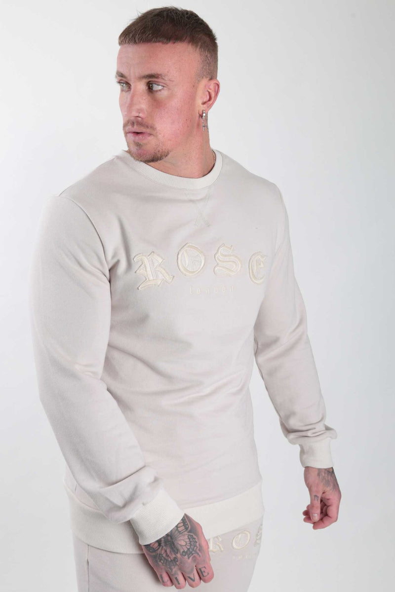 Sand Aplique Embroidery Sweatshirt - Rose London