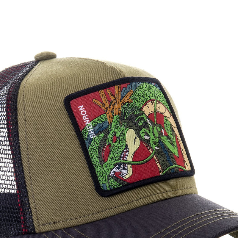 TRUCKER CAP CAPSLAB DRAGON BALL Z SHENRON KHAKI - Rose London