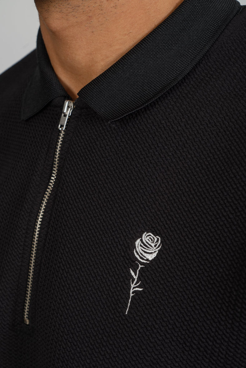Zip-Neck Black Polo - Rose London