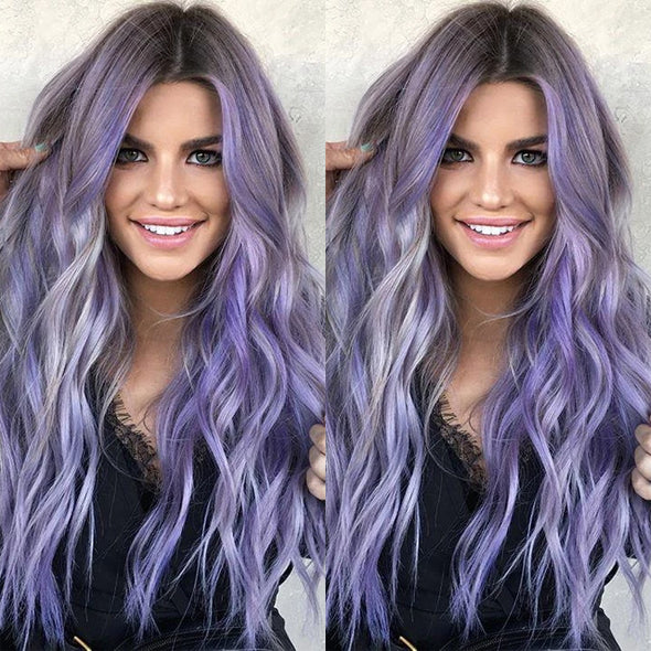 Purple Long Roll Wig