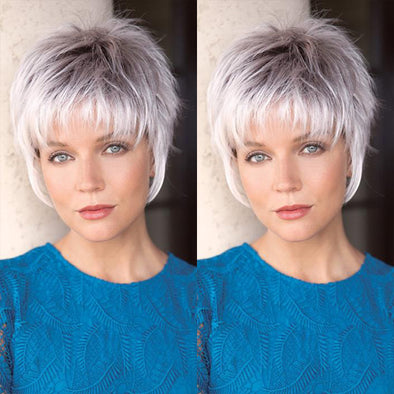 Casual Gradient White Short Wig