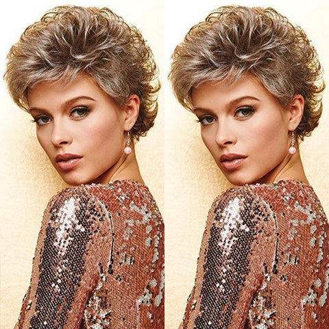 Sky Gray Gold Short Wig