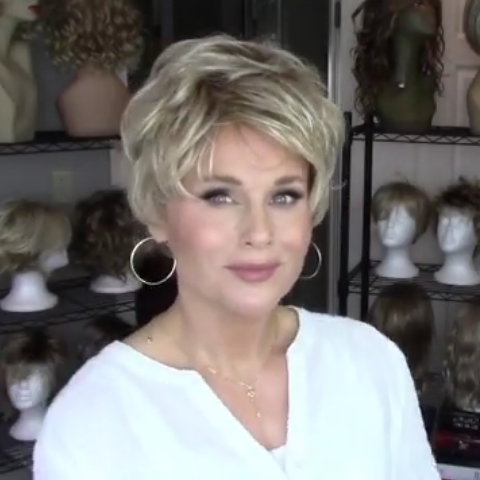 Personality sand gold short wig (Hair root black)
