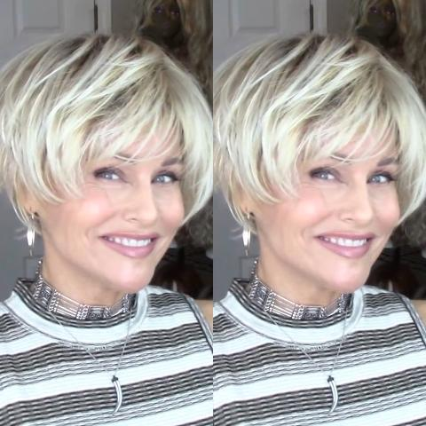 Popular white gold mixed short wig (Hair root black)