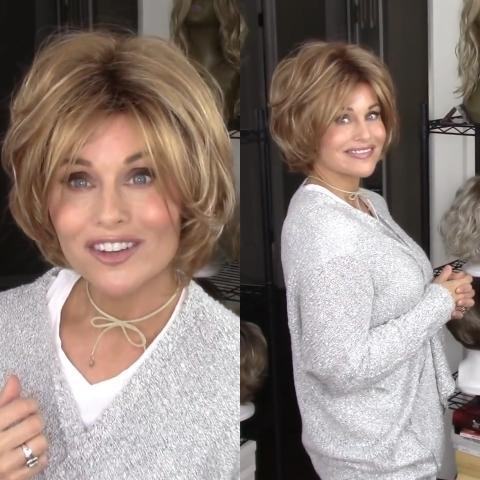 Popular brown gold short wave wig
