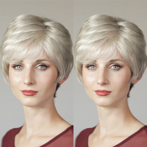 Charming White Gray Short Wig
