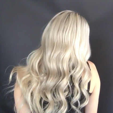 Super fashion gradient platinum long wave wig