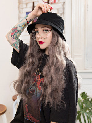 Fisherman's Hat Big Wave Milk Tea Brown Wig