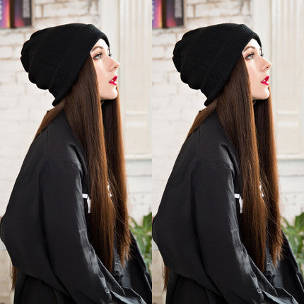 Wool Cap Long Straight Wig