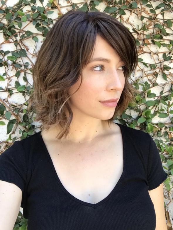 Black brown short curly wig