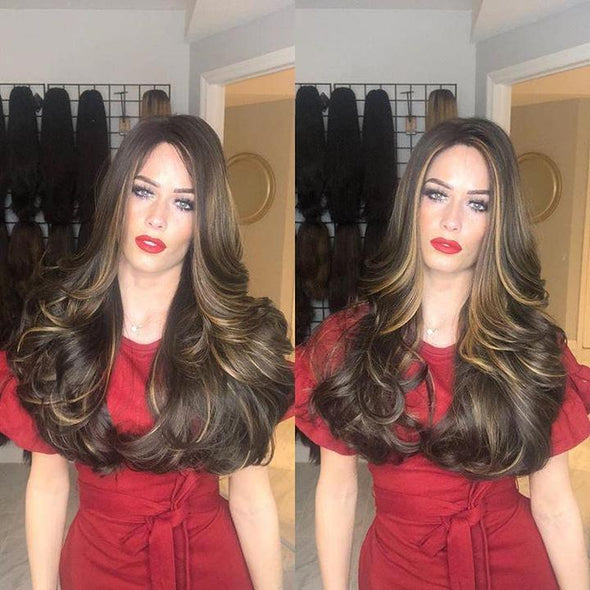 New Brown Long Roll Wig