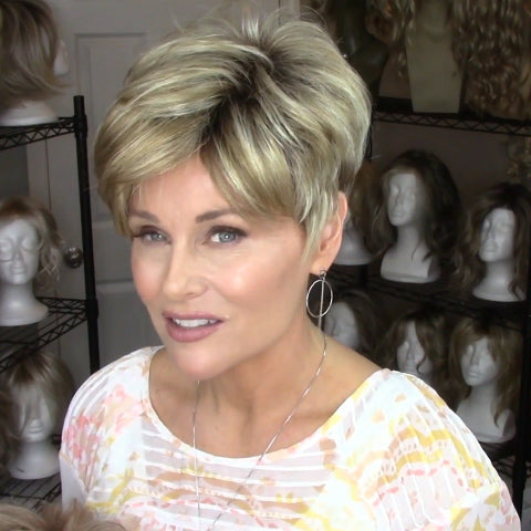 Romantic love gold brown short wig