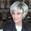 Romantic silver white short wig(Hair root black)